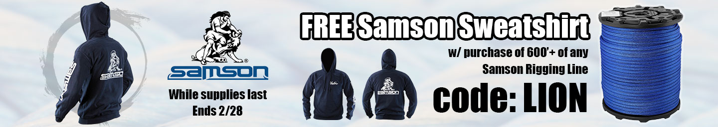 FREE Sweatshirt with Reel of Samson Rigging Line (While Supplies Last)